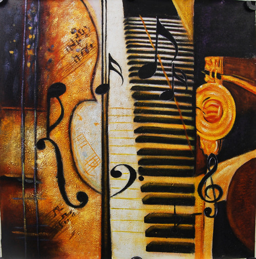 MUSIC01 - 32in X 32in,FIZ001MSC_3232,Yellow, Brown,80X80,Modern Art Art Canvas Painting