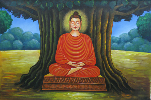 Buddha in Meditation06 - 36in X 24in,RAJMER22_3624,Acrylic Colors,Buddha,Peace,Meditation - Buy Paintings online in India