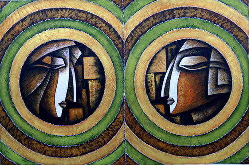 Romance03 - 36in X 24in,RAJMER25_3624,Acrylic Colors,Lovers,Love,Couple - Buy Paintings online in India