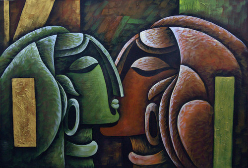 Romance04 - 36in X 24in,RAJMER26_3624,Acrylic Colors,Lovers,Love,Couple - Buy Paintings online in India