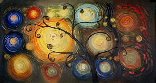 Tree Magic - 36in x 24in,FIZCLR07_3624,Beautiful Tree,Colorful Tree,Community Artist Group,Museum Quality - 100% Handpainted