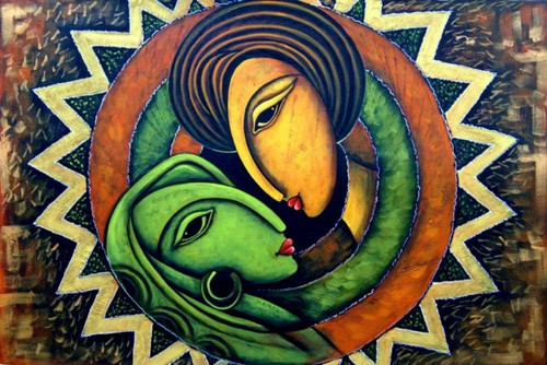 Romance06 - 36in X 24in,RAJMER28_3624,Acrylic Colors,Lovers,Love,Couple - Buy Paintings online in India