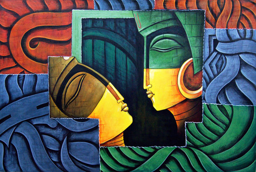 Romance08 - 36in X 24in,RAJMER30_3624,Acrylic Colors,Lovers,Love,Couple - Buy Paintings online in India