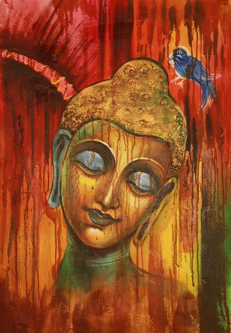 Buddha,Peace,Murlidhar,Peace,Red,Orange Shade Buddha ,Blue Bird