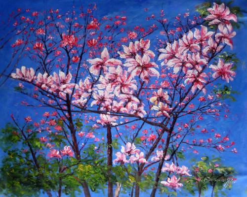 Purple Flowers on Blues,Pink Flowers Beauty