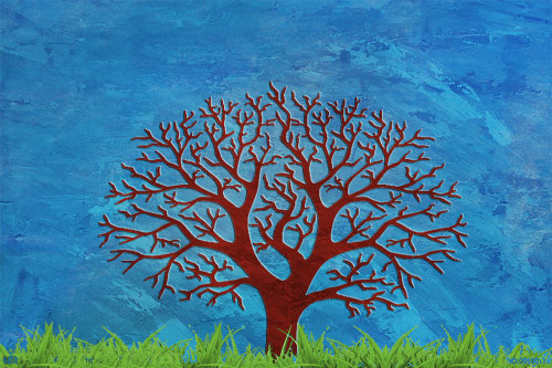 Tree,Spread of Happiness,Brwon Tree,Blue Background