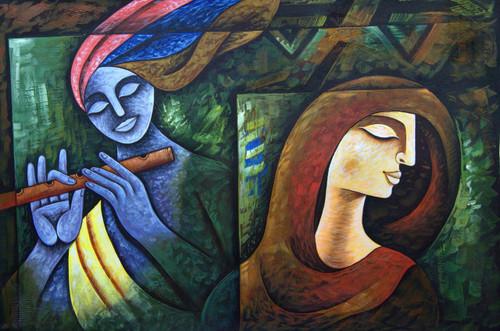 Radha Shyam with Basari02 - 36in X 24in,RAJMER34_3624,Acrylic Colors,God,Radha Krishna,Shyam Radha,Nadalal,Gopi - Buy Paintings online in India