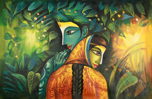 Krishna,Kannaya,Murlidhar,Gopal surrounded Radha,radha Krishna Love