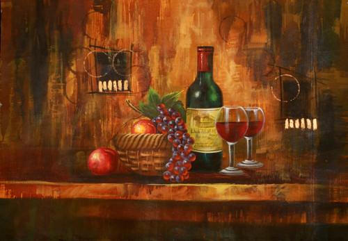 Fruit Basket,Wine Glasses,Green Bottle,Still Life