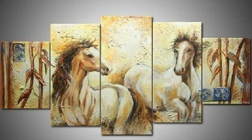 Good Luck Horses - 70in x 32in (Details Inside),RTCS_28_7032,Oil Colors,Animal,Horses,Horse,Horses,Raceing,Canvas,Museum Quality - 100% Handpainted