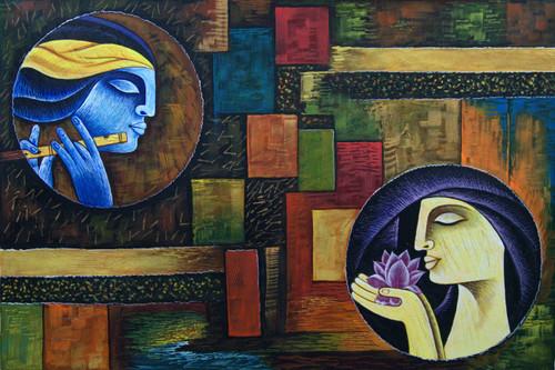 Radha Shyam with Basari05 - 36in X 24in,RAJMER37_3624,Acrylic Colors,God,Radha Krishna,Shyam Radha,Nadalal,Gopi - Buy Paintings online in India