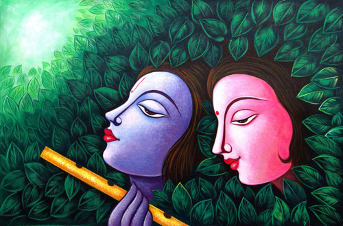 Radha Shyam with Basari06 - 36in X 24in,RAJMER38_3624,Acrylic Colors,God,Radha Krishna,Shyam Radha,Krishna,Nandalal,Gopi - Buy Paintings online in India