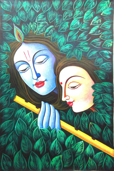Radha Shyam with Basari07 - 36in X 24in,RAJMER39_3624,Acrylic Colors,God,Radha Krishna,Shyam Radha,Nadalal,Gopi - Buy Paintings online in India