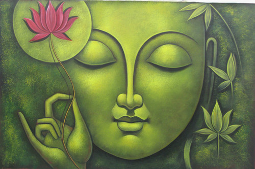 Buddha in Meditation07 - 36in X 24in,RAJMER42_3624,Acrylic Colors,Buddha,Peace,Meditation - Buy Paintings online in India