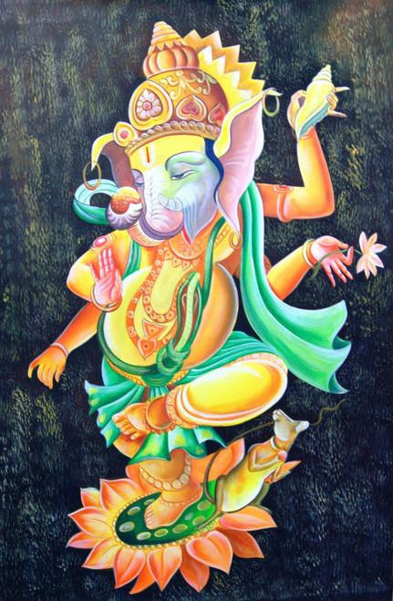 Lord Ganapati02 - 24in X 36in,RAJMER44_2436,Acrylic Colors,God,Ganesha,Vakratunda,Vinayak,Bappa,Jai Ganesh ji  - Buy Paintings online in India