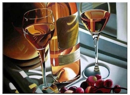 The Toast 1 - 40in x 32in,RTCSC_05_4032,Pair of Glasses,Cheers the life,Bottle and Cherry ,Oil Colors,Museum Quality - 100% Handpainted Buy Painting Online in India.
