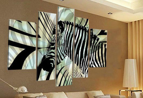 Zebra Multipiece Art - 64in x 36in (Details Inside),RTCSC_24_6436,Wild Animal Zebra,Black And White Strips,Multi piece,Museum Quality - 100% Handpainted Buy Painting Online in India.