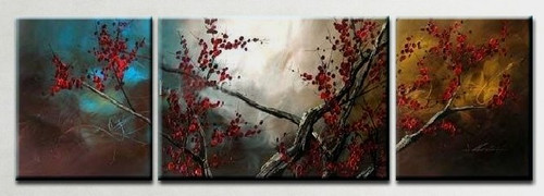 The Flow of Time 3 - 58in X 24in (Details Inside),RTCSC_40_5824,Oil Colors,Multi Piece Paintings,small red flowers,red Floral Branch,Museum Quality - 100% Handpainted - Buy Painting Online in India.