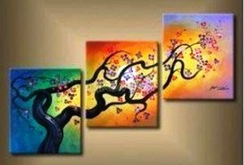 Wonderful Life 5 - 48in X 24in (Details Inside),RTCSC_45_4824,Oil Colors,Tree Life,Colorful Tree,Multi Piece Paintings,Museum Quality - 100% Handpainted - Buy Painting Online in India.