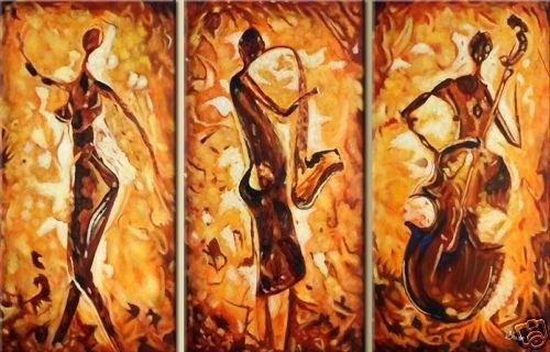 Musicians in One Tone Shades - 48in X 32in (Details Inside),RTCSC_47_4832,Oil Colors,Musician,Playing Music,Musical Instruments,Multi Piece Paintings,Museum Quality - 100% Handpainted - Buy Painting Online in India.