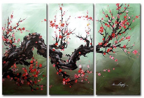 Flow of Time 12 - 48in X 32in (Details Inside),RTCSC_48_4832,Oil Colors,Red Small Floral Branch,Red Flowers,Small Red Flowers,Multi Piece Paintings,Museum Quality - 100% Handpainted - Buy Painting Online in India.