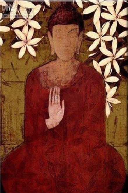 Blessings of Lord Buddha - Handpainted Art Painting - 24in X 36in