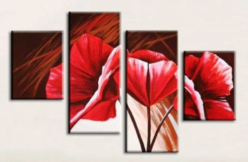 Beauty of Red Roses - 48in x 32in),RTCSD_18_4832,Trees,Multipiece,Floral,Flower,Roses  - 100% Handpainted Buy Painting Online in India.