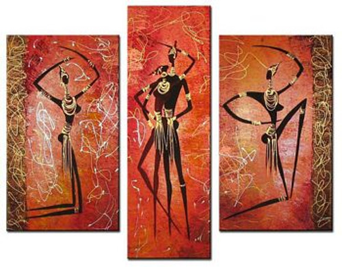 Tribal Flow 6 - 44in X 36in (Details Inside),RTCSC_54_4436,Oil Colors,Couple,Pair,Tribal People,Multi Piece Paintings,Museum Quality - 100% Handpainted - Buy Painting Online in India.
