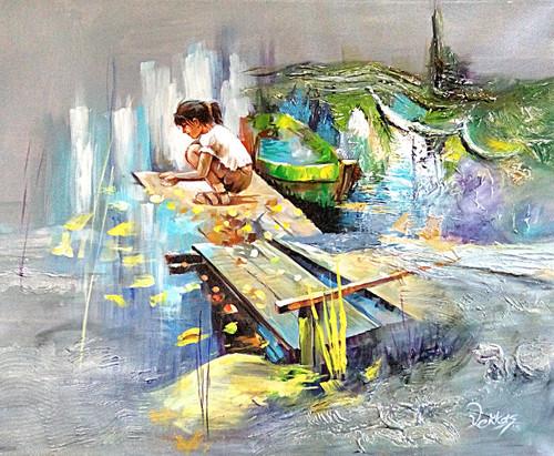 Girl Playing, Playing at Bridge