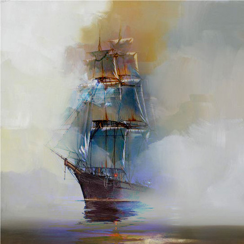 Boat Landscape 1 - Handpainted Art Painting - 32in X 32in