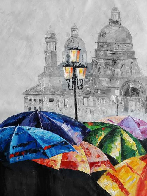 Multicolor Land,Umbrella,Colorful Umbrella,Rainy View