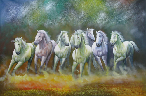 7 Good Luck Horses Rajmer01 - 36in X 24in,RAJMER49_3624,Acrylic Colors,Horse,Race,Racing,Achiver,Running,Runneres - Buy Paintings online in India