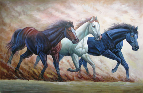 Strength and Valor01 - 36in X 24in,RAJMER62_3624,Acrylic Colors,Race,Horses - Buy Paintings online in India
