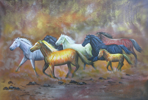 7 Good Luck Horses Rajmer02 - 36in X 24in,RAJMER50_3624,Acrylic Colors,Horses,Graces,Race,Achiever,Racing - Buy Paintings online in India