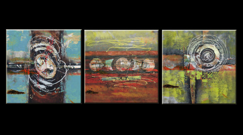 mulitipiece, 3 piece, 3 panels, 3 , abstract, green abstract