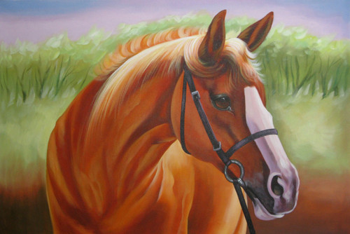 Strength and Valor03 - 36in X 24in,RAJMER52_3624,Acrylic Colors,Horse,Race,Alone - Buy Paintings online in India