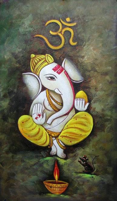 Ganesh Naman - 15in X 26in,RAJMER53_1526,Acrylic Colors,God,Ganesha,Ganapati,Bappa,Moraya,Deva - Buy Paintings online in India