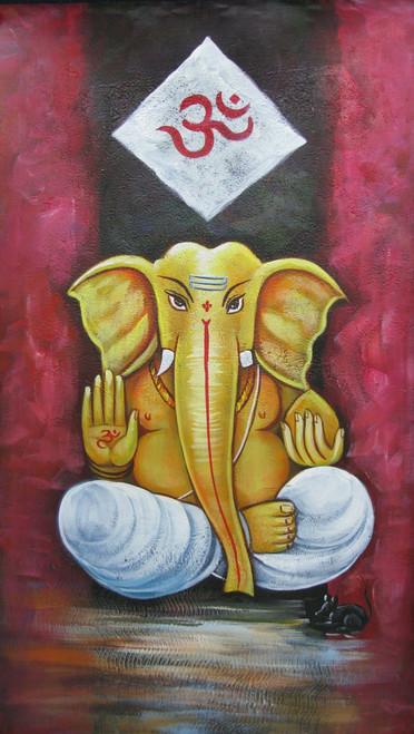 Om Ganesh - 15in X 26in,RAJMER54_15266,Acrylic Colors,God,Ganesha,Ganapati,Bappa,Moraya,Deva - Buy Paintings online in India