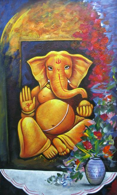 Blessings of Ganesha  - 15in X 26in,RAJMER56_1526,Acrylic Colors,God,Ganesha,Ganapati,Bappa,Moraya,Deva - Buy Paintings online in India