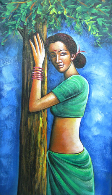 Waiting for someone - 15in X 26in,RAJMER59_1526,Acrylic Colors,Lady,Lonley,Hopes,Feelings - Buy Paintings online in India