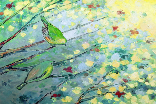 Birds,Small Birds,Two Tiny Birds,green Birds