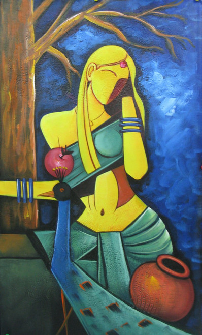 Thoughts - 15in X 26in,RAJMER61_1526,Acrylic Colors,Lady,Lonley,Hopes,Feelings - Buy Paintings online in India