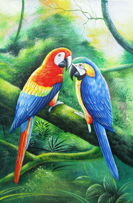 Love Birds - 24in X 36in,RAJVEN03_2436,Acrylic Colors,Bird Pair,Couple,Colorful Parrots  - Buy Paintings online in India