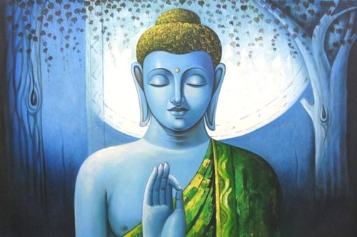 Mahanirvana 04 - 36in X 24in,RAJVEN07_3624,Acrylic Colors,Peace,Buddha,Shanti,Meditation,Buddhism - Buy Paintings online in India