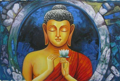Mahanirvana 05 - 36in X 24in,RAJVEN08_3624,Acrylic Colors,Peace,Buddha,Shanti,Meditation,Buddhism - Buy Paintings online in India