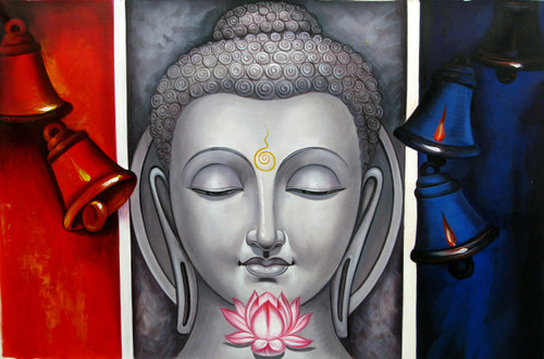 Mahanirvana 08 - 36in X 24in,RAJVEN11_3624,Acrylic Colors,Peace,Buddha,Shanti,Meditation,Buddhism - Buy Paintings online in India