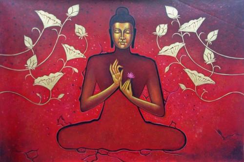 Mahanirvana 07 - 36in X 24in,RAJVEN10_3624,Acrylic Colors,Peace,Buddha,Shanti,Meditation,Buddhism - Buy Paintings online in India