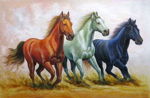Strength and Valor04 - 36in X 24in,RAJVEN19_3624,Acrylic Colors,Race,Horses,Racing,Achiver,Riding - Buy Paintings online in India