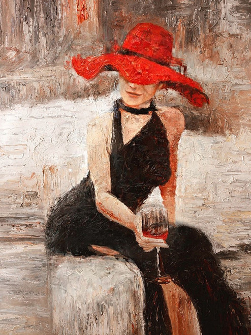 Figurative,Lady with red hat,Girl in Black,Relax mood