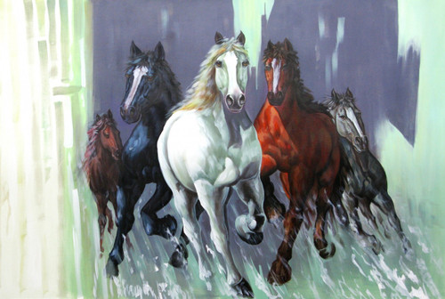 Strength and Valor06 - 36in X 24in,RAJVEN21_3624,Acrylic Colors,Race,Horses,Racing,Achiver,Riding - Buy Paintings online in India